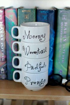 The Marauders Harry Potter Coffee Cup Set. Mooney, Wormtail, Padfoot & Prongs Coffee Mugs.