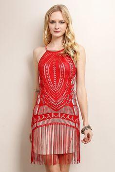 Fringe Unique Pattern Dress