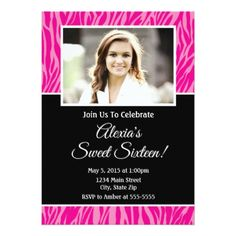 Pink Zebra Sweet 16 Birthday Invitation - birthday invitations diy customize personalize card party gift