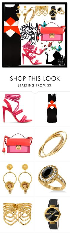 """Be brave* Be kind* Be well"" by kareng-357 ❤ liked on Polyvore featuring Alexandre Birman, Versace, Calvin Klein Collection, Cartier, Dolce&Gabbana, Allurez and Gucci"