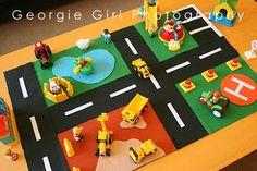 felt playmat with road