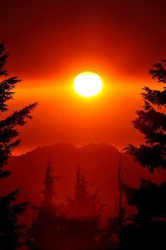Fireball over Crater Lake, Oregon.