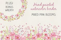 Watercolor border: mixed pink blooms by Lolly's Lane Shoppe on @creativemarket