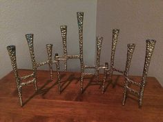 Jewish Brass Hanukah Folding Menorah Candle Holder Brutalist Style in | eBay