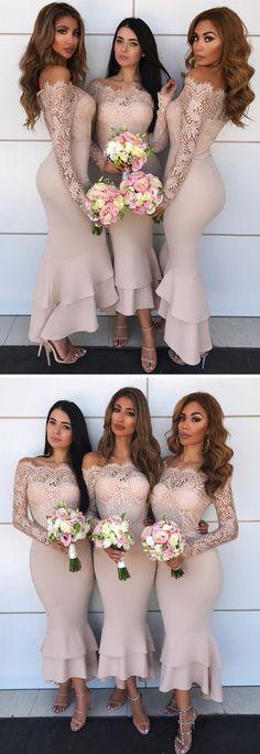 bridesmaid dresses, 2018 bridesmaid dreses, long sleeves bridesmaid dresses, tea length bridesmaid dresses, wedding party dresses, nude bridesmaid dresses wedding party dresses