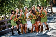 bridesmaid dresses for rustic wedding green | Wedding, Flowers, Green, Dress, Orange, Brown, Shoes, Rustic - Project ...