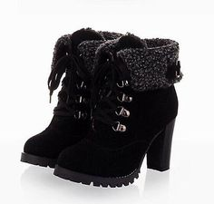 af10ae69e32 Womens Winter Warm High Heel Shoes Platform Lace Up Ankle Boots US All Size  B033