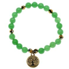 """Tutorial - How to: Green and Gold Tree of Life Bracelet   Beadaholique...stretchy!   1/31/14 ks notes: I gave this to a co-worker as her """"Secret Santa"""" gift.  She seemed to like it, but it was a little _too_ simple for my taste."""