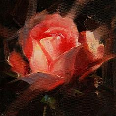 """Daily Paintworks - """"Rose Study 2017 09"""" - Original Fine Art for Sale - © Qiang Huang"""