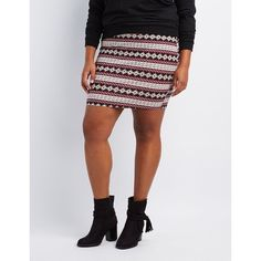 Charlotte Russe Printed Bodycon Mini Skirt ($4.99) ❤ liked on Polyvore featuring plus size women's fashion, plus size clothing, plus size skirts, plus size mini skirts, multi, tribal mini skirt, womens plus size skirts, short mini skirts and tribal print mini skirt