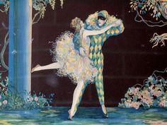 Vintage Marygold Tsanya harlequin art deco framed print