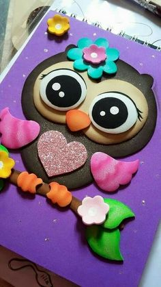 #gomaevamanualidades Owl Crafts, Diy And Crafts, Crafts For Kids, Arts And Crafts, Paper Crafts, Merian, Felt Baby, Decorate Notebook, Paper Piecing