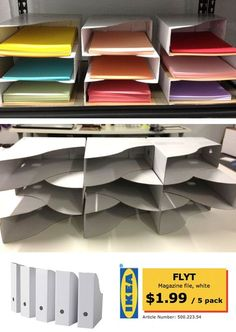 Quick & Cheap Organization: DIY Paper Sorter from stacked IKEA Magazine files. Just tape together with packing tape.