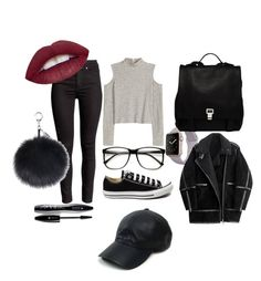"""my first set"" by kotyto ❤ liked on Polyvore featuring Converse, Lancôme, H&M, Vianel, Proenza Schouler, women's clothing, women, female, woman and misses"