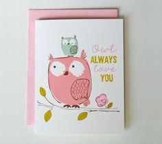 Owl Always Love You  Valentine's Day card by SeaUrchinStudio, $3.00