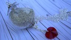 Collier sphère en verre, terrarium bijoux, argent et rouge micro perles