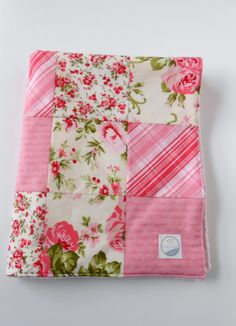 Minky Baby Girl Patchwork Blanket Quilt Free Spirit Pirouette Cottage Chic Roses Ballet Pink Red--Ready to Ship. $50.00, via Etsy.