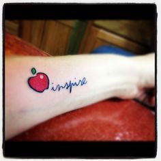 Inspire quote and apple tattoo, Red and green apple tattoos Wörter Tattoos, Neue Tattoos, Word Tattoos, Body Art Tattoos, Small Tattoos, Tatoos, Faith Tattoos, Quote Tattoos, Tattoo Symbols