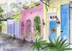 Rainbow Row 5x7 Original Watercolor South by DustyShamrockStudio, $120.00