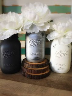 Black, Silver, and White Mason Jars, Baby Shower Decor, White, Black, and Silver, Rustic Wedding Centerpiece, Rustic Party Decor, Chic Decor by MintedCountryShop on Etsy https://www.etsy.com/listing/512770897/black-silver-and-white-mason-jars-baby