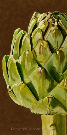 """Artichoke Green"" original acrylic by Marlane Wurzbach Botanical Drawings, Botanical Art, Watercolor Flowers, Watercolor Art, Vegetable Painting, Fruit Painting, Painting Still Life, Fruit Art, Natural Forms"