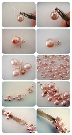 make the middle pink flower for the charm pearl bracelet - DiyForYou Bead Jewellery, Hair Jewelry, Pearl Jewelry, Fashion Jewelry, Pearl Necklaces, Jewellery Making, Bridal Statement Necklaces, Antler Jewelry, Pearl Rings