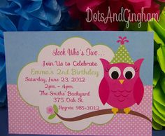 Owl Invitation Owl Birthday Printable Owl by DotsAndGingham