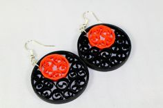 Black and Orange Halloween Earrings orange by SweetheartsandCrafts