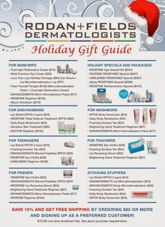 Here is a gift guide to help you decide which Rodan + Fields product to give this Christmas! I'm here to help. www.achiarelli.myrandf.com
