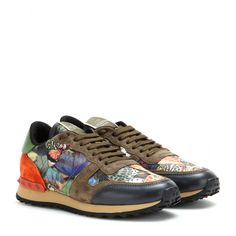 mytheresa.com - Rockrunner printed leather and suede sneakers - Sneakers - Shoes - Valentino - Luxury Fashion for Women / Designer clothing, shoes, bags