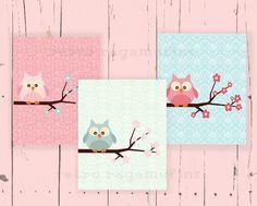 Vintage Wallpaper Owl Nursery Art Prints 8x10  by retroragamuffins, $25.00
