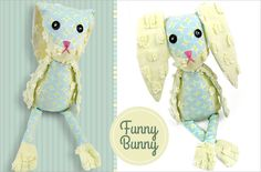 Funny Bunny Stuffable - Sew4Home Baby Sewing Projects, Sewing For Kids, Flowers For Mom, Funny Bunnies, Sewing Toys, Slip Stitch, Fabric Art, Fabric Scraps, Softies