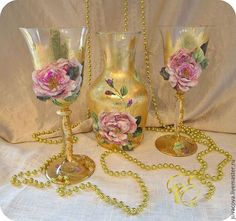 Бокалы, стаканы ручной работы. Ярмарка Мастеров - ручная работа. Купить Набор для вина ,,Beaujolais,, винный набор. Handmade. Золотой