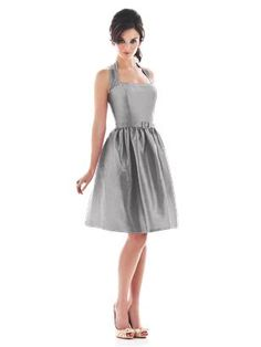 ALFRED SUNG STYLE D480 $131.20  Halter cocktail length dupioni dress with matching skinny belt and pockets at side seams of full skirt. Also available full length as style d481. Sizes available 00-30W, and 00-30W extra length. Coordinating junior bridesmaid dress avaialble in sizes 6jb-14jb as style JR500. http://www.modelbride.com/Alfred-Sung-Style-D480-Prodview.html