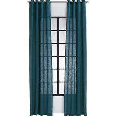 "burlap blue-green curtain panel 48""x84"" | CB2"