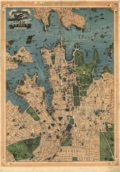 1922 Map of Sydney, Australia.