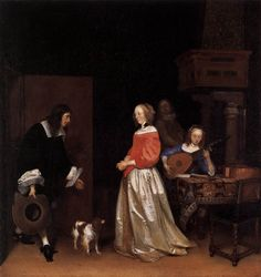 The Suitor's Visit (c.1658). Gerard ter Borch (Dutch, 1617-1681). Oil on canvas. National Gallery of Art, Washington.Ter Borch's paintings often allude to music, a common 17th-century metaphor for love and harmony between family members, lovers, or friends. In The Suitor's Visit, the arrival of a gentleman has interrupted a duet. A young woman has risen to greet him, leaving her bass viol and sheet music on the table, while her seated friend continues to strum a lute.