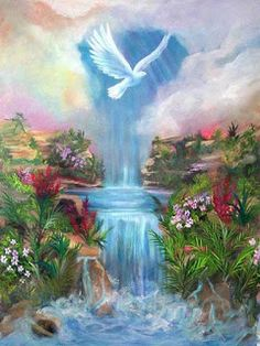 'Paradise' Holy Spirit Dove and living waters, Prophetic Art painting. Heaven Pictures, Jesus Pictures, Art Pictures, Beautiful Gif, Beautiful Pictures, Jesus Christ Images, Christian Pictures, Prophetic Art, Bible Art