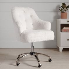 Work time has never been this comfy. With one sit in our faux-fur swivel chair, you'll feel instantly comfy and study-ready. Made with thick plush seating, our Polar Bear Faux-Fur Chair is perfect for working, searching the web or making on creati… Tufted Desk Chair, Desk Chair Teen, White Desk Chair, Desk Chair Comfy, Ikea Chair, Swivel Chair, White Vanity Chair, Vanity Chairs, Chair Cushions