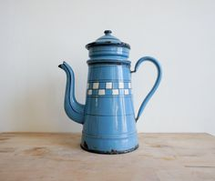 Vintage French Coffee Pot // Enameled Metal // French Country // Checkered blue enamelware // rustic home decor // shabby chic