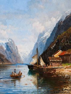 The Athenaeum - Sognefjord (Anders Monsen Askevold - ) Great Paintings, Old Paintings, Watercolor Paintings, Cool Landscapes, Landscape Paintings, Lake Cottage, Impressionist Paintings, Lake View, Norway