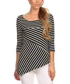 Look at this J-Mode USA Los Angeles Black Stripe Asymmetrical Top - Women on #zulily today!