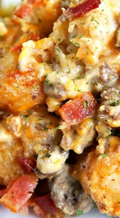 Bacon Cheeseburger Tater Tot Casserole - hamburger, bacon, cheese, cheese soup, sour cream and tater tots - what's not to love? We ate this twice in one day! Ca