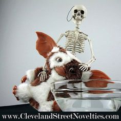 """Hmmmm... not sure if this is a great idea, Skeleton! Do you know what happens when you put a Mogwai in water?  The Skeleton in the Closet ™ is a special Halloween visitor that awakens each year to monitor your Halloween spirit with their own """"tricks"""" and 'treats."""" Follow the link in our bio to order your Skeleton today! And don't forget to help #NameOurSkeleton!"""