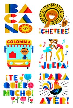 "Facebook sticker set titled, El Combito, which meas ""group of friends"" in Colombian Spanish, celebrates Colombian culture though the use of illustrations, hand-drawn type and a tropical palette that includes the yellow, blue and red from the national flag of Colombia. Selected into Communication Arts Typography Annual 2017 Colombian Flag, Colombian Culture, Colombian Spanish, Colombia Map, Photo Wall Clocks, Culture Day, Cafe Branding, Cute Canvas Paintings, Map Projects"