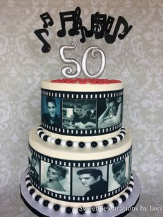 Nostalgic 50s phot style cake with edible images (Elvis, Marilyn Monroe, Dean Martin) by Sweet Celebrations by Lori in SLC, Utah