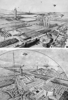 Broadacre city sketches by FLW, a fantastically dull place to live I'd imagine, but they look lovely.