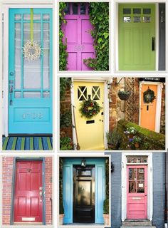Colorful Front Doors by I Lived On Wisteria Lane - I'm really thinking of going with this yellow color!