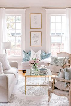 Transitional French glam contemporary formal living - French glam living room, transitional home decor, botanical prints gold frames, affordable living r - Glam Living Room, Formal Living Rooms, White Couch Living Room, Living Room Decor Gold, Beige And White Living Room, Coffee Table Decor Living Room, French Living Rooms, Cozy Living, Living Room Chairs