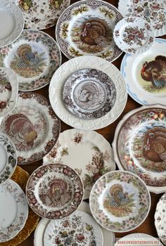 Turkey dishes and transferware Thanksgiving Dinnerware, Thanksgiving Plates, Thanksgiving Blessings, Vintage Thanksgiving, Thanksgiving Decorations, Thanksgiving Tablescapes, Turkey Plates, Turkey Dishes, Vintage Plates
